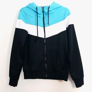 Empyre bonded fleece chevron hoodie sweatshirt L